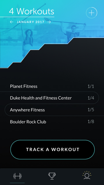 screenshot of workouts page